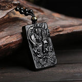 Good and Evil Obsidian Buddha Pendant