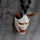 White Hannya Mask Pendant Necklace