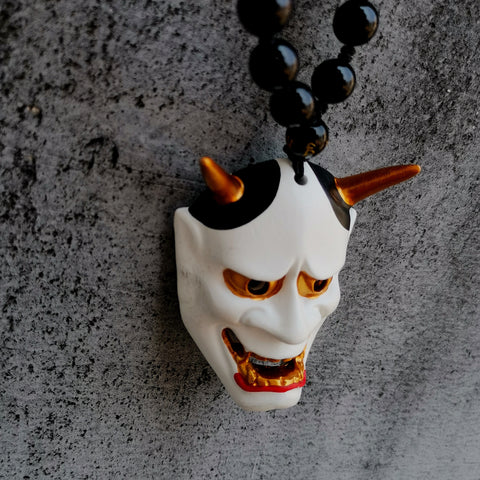 White Hannya Mask Necklace