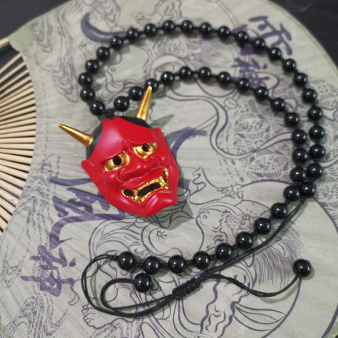 Red Hannya Mask Necklace
