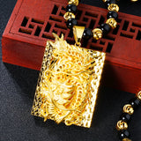 Gold Dragon Pendant Onyx Beaded Chain