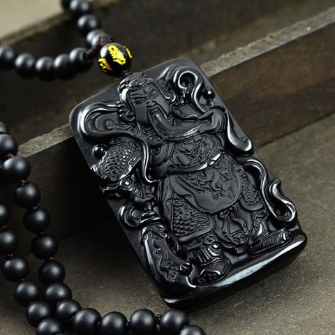 Guan Yu God of War Obsidian Pendant Necklace