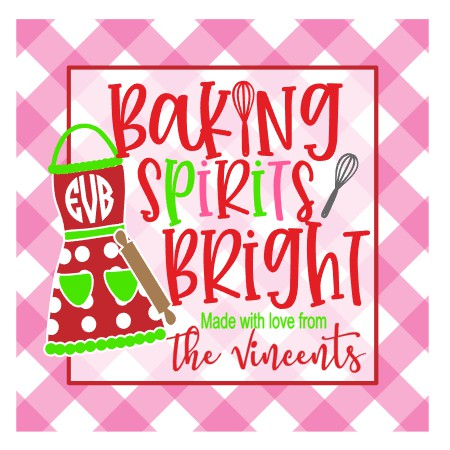 Personalized Baking Spirits Bright Christmas Gift Tags