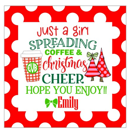 Personalized Spreading Christmas Cheer & Coffee Gift Tags