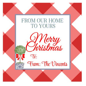 Personalized FROM OUR HOME TO YOURS Merry Christmas Gift Tags