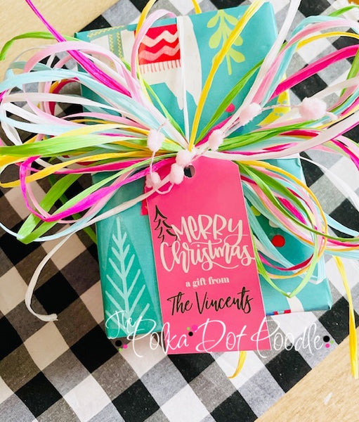 Personalized Pink Merry Christmas Gift Tags
