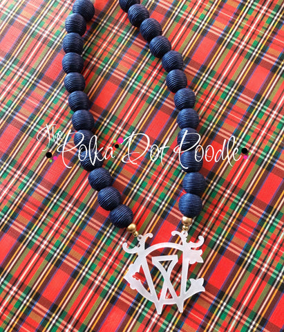 Navy Beaded Monogram Necklace
