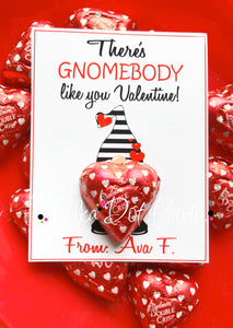 Valentines Day Personalized Gift Tags- There's Gnomebody like you