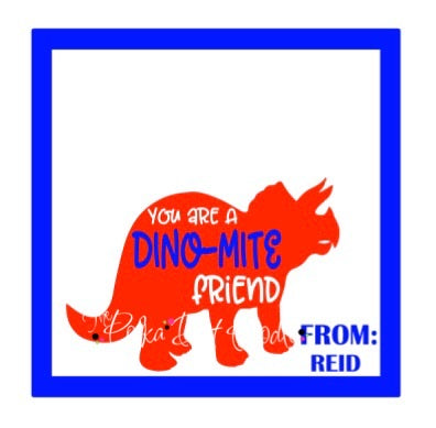 Valentines Day Personalized Gift Tags-DINO-MITE