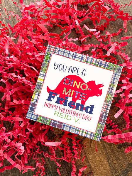 Plaid Valentines Day Personalized Gift Tags-DINO-MITE