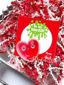 Valentines Day Personalized Gift Tags-Be my Valen-SLIME