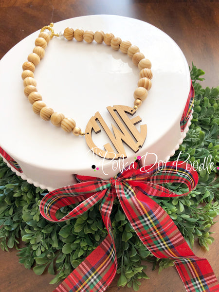 Wooden Monogram Bead Necklace