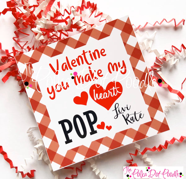 Valentines Day Personalized Gift Tags-You make my heart POP