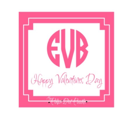 Valentines Day Personalized Gift Tags- Pink Circle Monogram