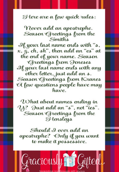 Personalized Gift Tags-Tartan Plaid wreath bow with initial