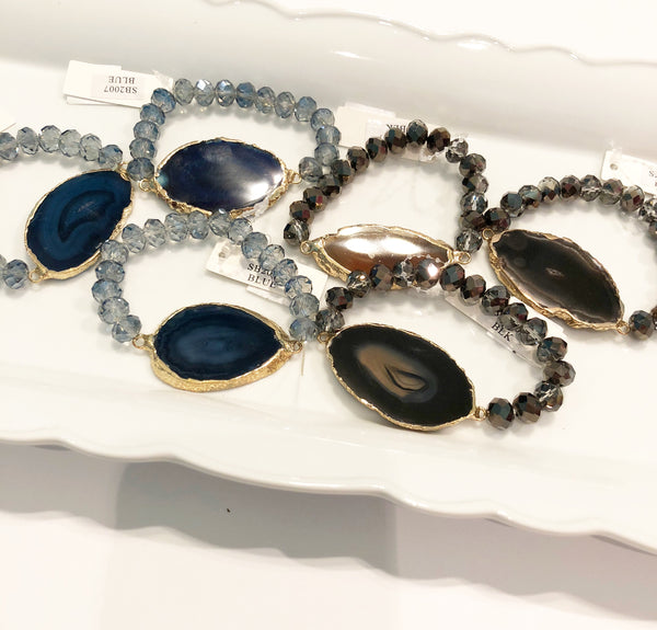 Flat Stone Jeweled bracelet(stretchy)
