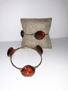 Brown Wire Wrapped 3 stone bracelet