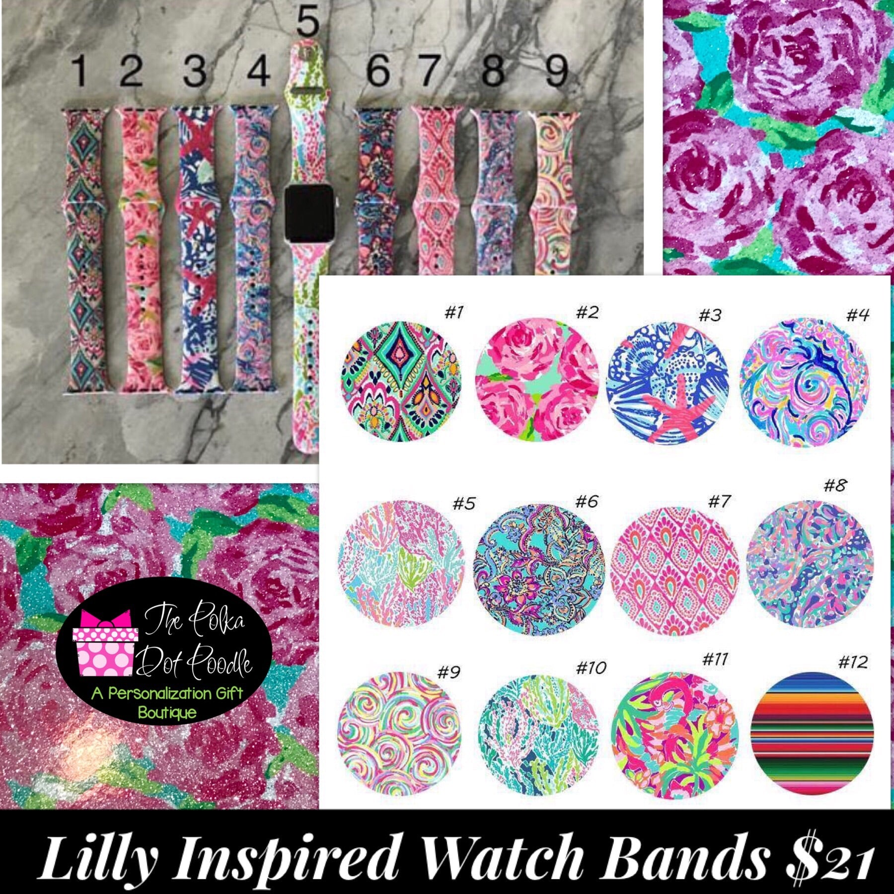 Lilly P Inspired Apple Watch Band