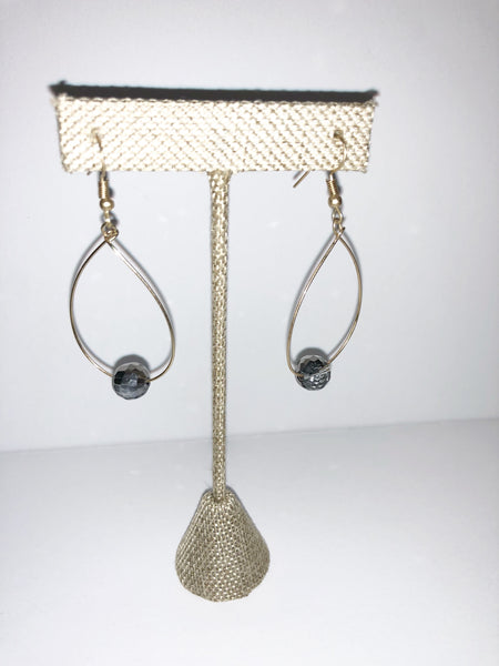 Gunmetal slate grey beaded teardrop earrings