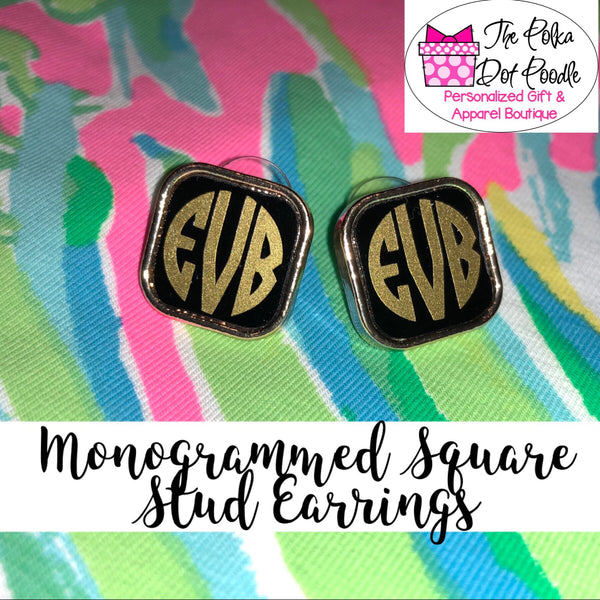 Monogrammed Square Stud Earrings