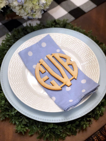 Circle Wooden Place Setting Monogram