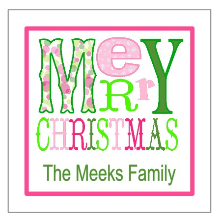 Personalized Pink/Green Merry Christmas Gift Tags