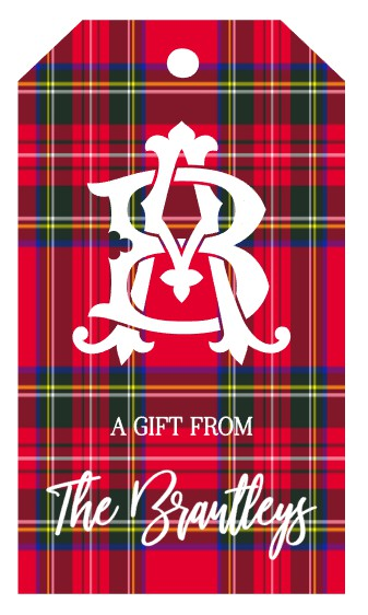 Personalized Christmas Red Tartan Plaid Gift Tags