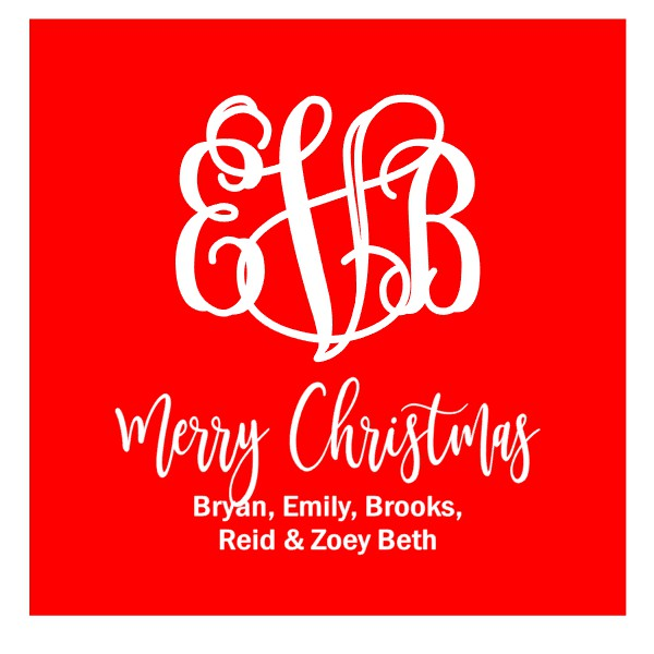 Personalized SOLID RED Monogram Merry Christmas Gift Tags