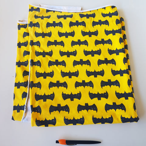 Grunge Batman Yellow Cotton Lycra 80cm x WOF