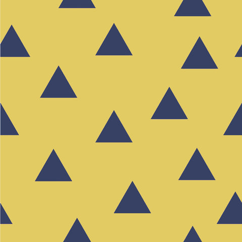 Triangle Herd Mustard Navy FRENCH TERRY ( Per 1/2 Metre)