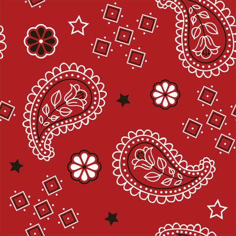 Red Bandanna. Cotton Lycra (Per 1/2 metre)