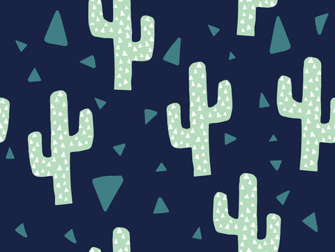 Cool Cactus Navy/white(Per 1/2 metre)