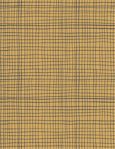175gsm Mustard and Navy Hash (Per 1/2 metre) Cotton Lycra Lightweight