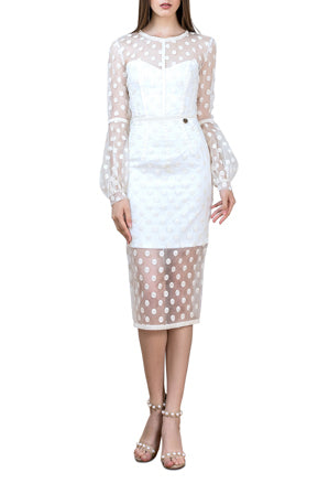 BRONX AND BANCO ISABELLA MIDI DRESS - CREAM - sisterfield