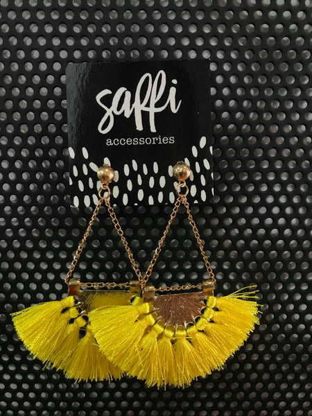 SAFFI ACCESSORIES - YELLOW FRINGED DANGLE EARRINGS - sisterfield