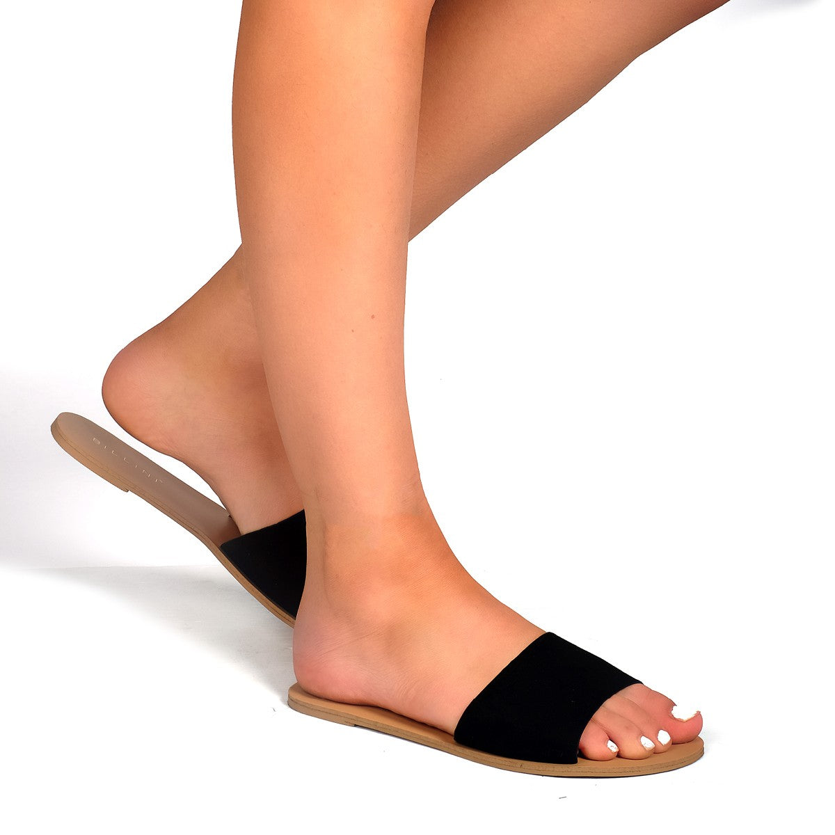 BILLINI CRETE SLIDE - BLACK SUEDE - sisterfield