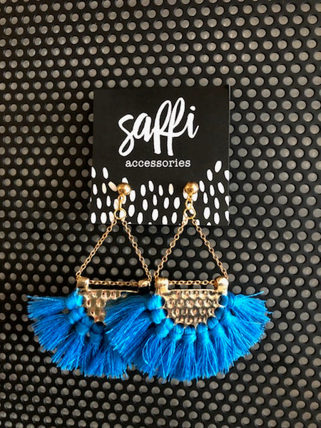 SAFFI ACCESSORIES - BLUE FRINGED DANGLE EARRINGS - sisterfield