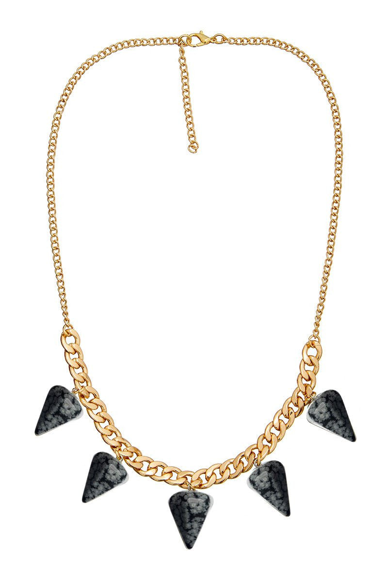 ELLE LOUISE GOLD PENDULUM CHAIN NECKLACE N266 - SNOWFLAKE