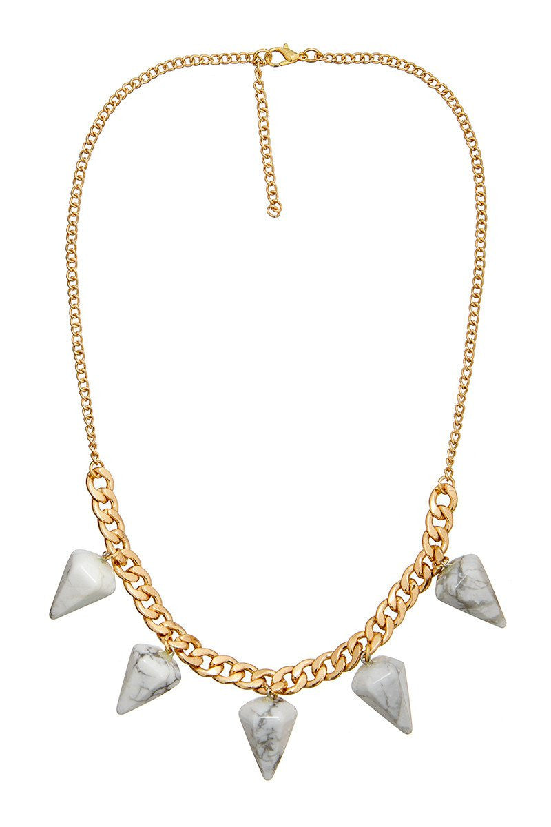 ELLE LOUISE GOLD PENDULUM CHAIN NECKLACE N266 - WHITE MARBLE