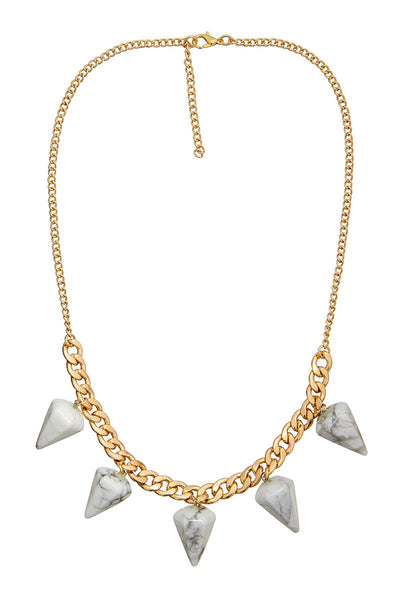 ELLE LOUISE GOLD PENDULUM CHAIN NECKLACE N266 - WHITE MARBLE - sisterfield