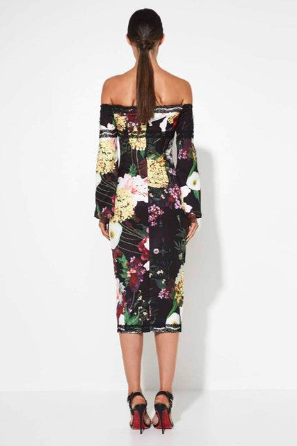 MOSSMAN SHE WALKS IN ROSES OFF SHOULDER DRESS
