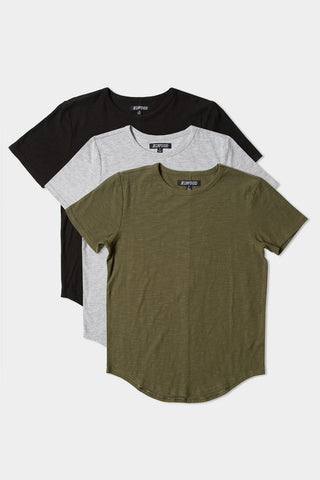 Curved Hem Tee - Mix 3 Pack