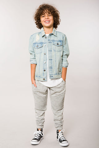 Light Indigo Destructed Trucker Jacket