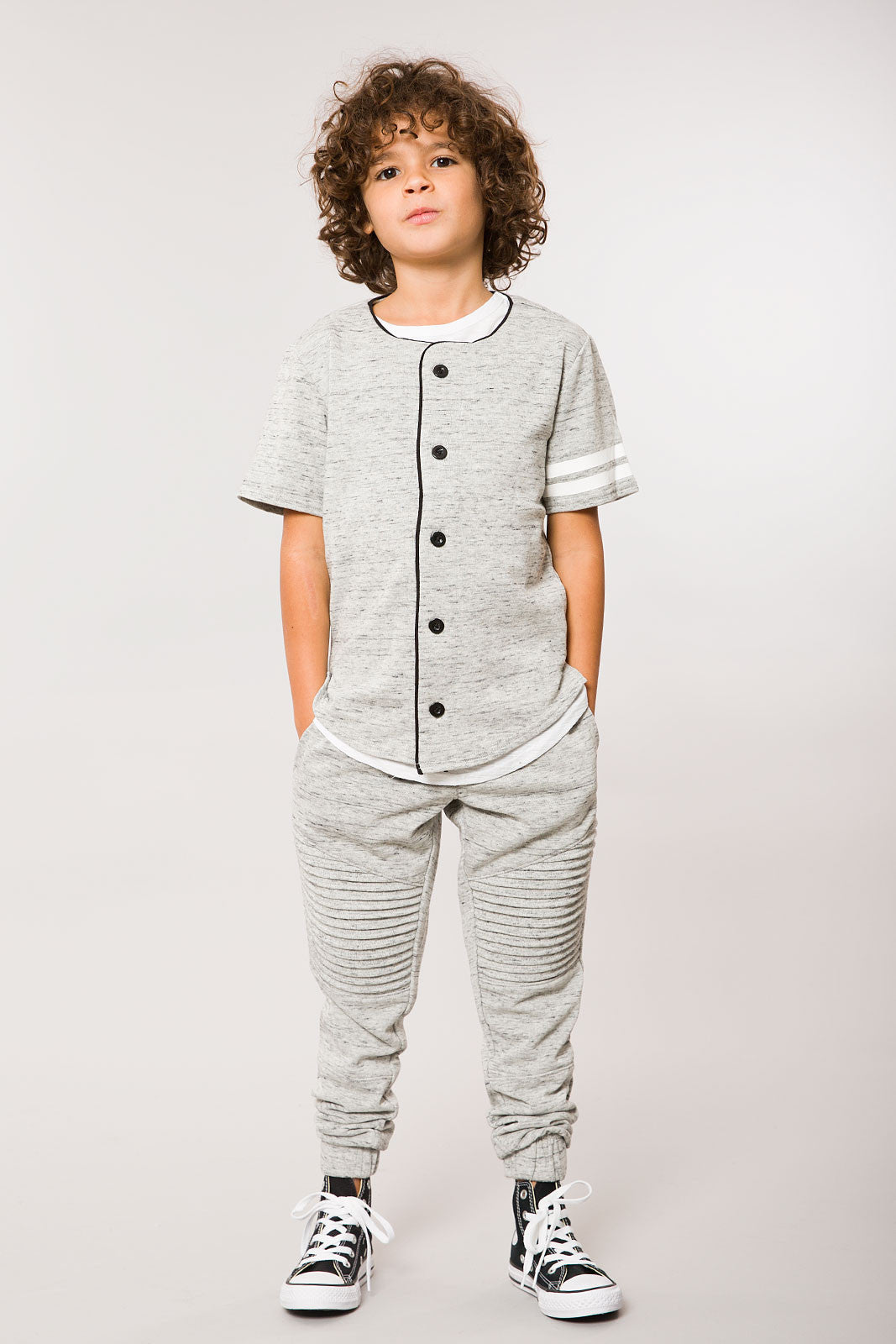 Heather Grey SS Baseball Jersey