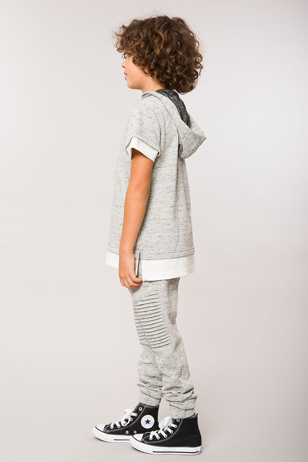 Heather Grey SS Layered Split Hem Hoodie