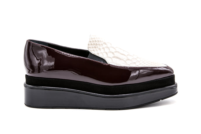 Ivory Croc + Burgundy Loafer