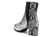 Black and White Python Chelsea Boots