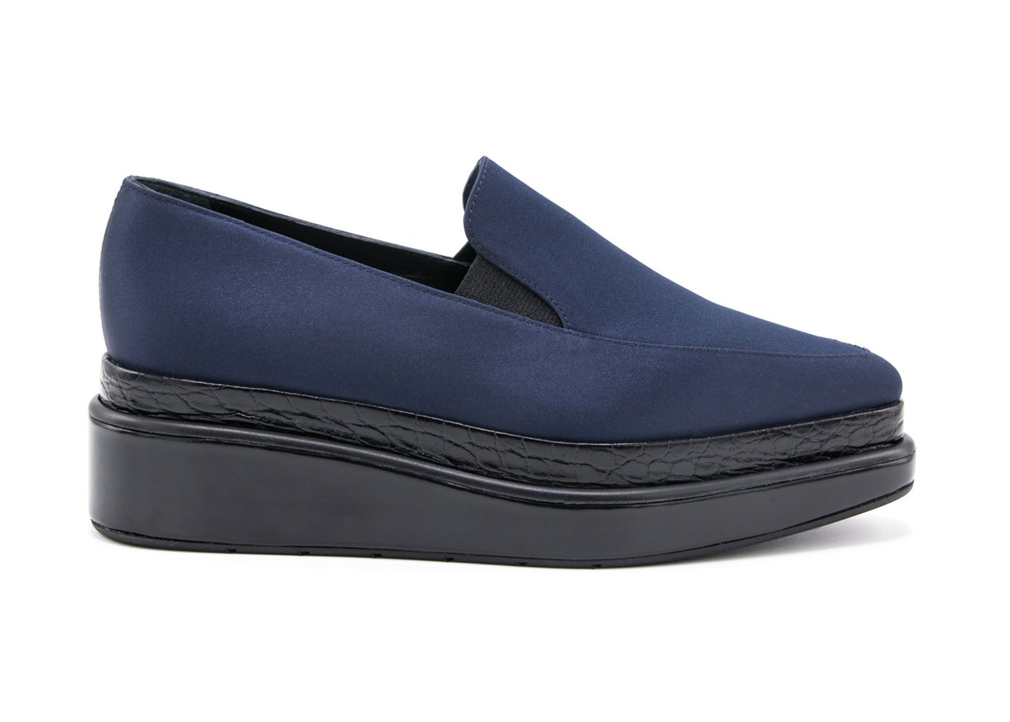 Navy Satin Loafer