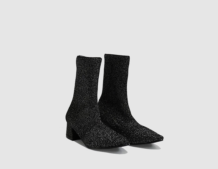 Nº 10 Black Sparkle Knit Ankle Boots