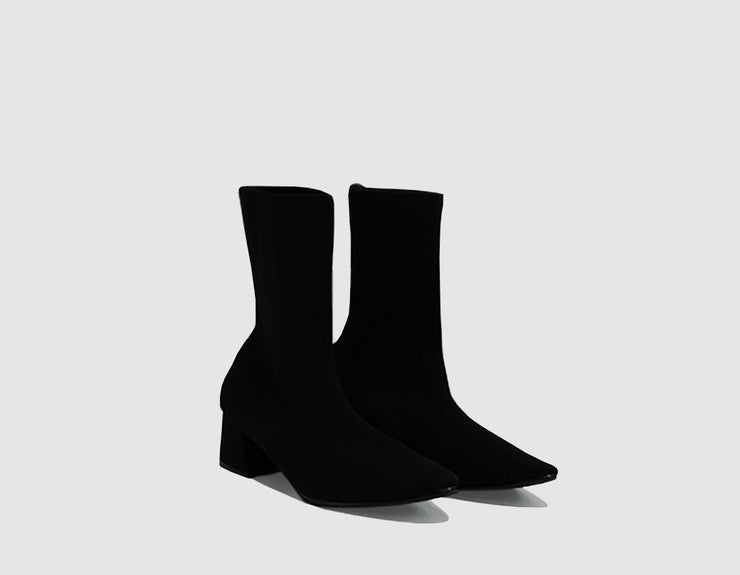 Nº 10 Black Knit Ankle Boots